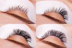 Ögonfransförlängningstillvägagångssätt Jämförelsen av kvinnlign synar före och efter royaltyfria bilder