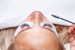 Ögonfransförlängningstillvägagångssätt Kvinnan synar med långa ögonfranser Snärtar slut upp, utvald fokus Arkivfoto