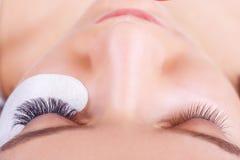 Ögonfransförlängningstillvägagångssätt Kvinnan synar med långa ögonfranser Snärtar slut upp, utvald fokus royaltyfri fotografi