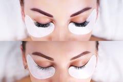 Ögonfransförlängningstillvägagångssätt Kvinnlign synar före och efter arkivfoto