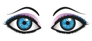 Ögonkast av kvinnan (blått) Royaltyfri Fotografi