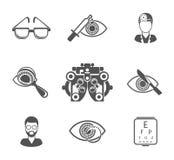 Ögonläkare och svart symbolsuppsättning för optometry vektor illustrationer