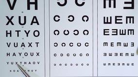 Ögonläkare som kontrollerar kvalitets- för patienter visuella och skrivande in data in i sjukdomshistoria lager videofilmer