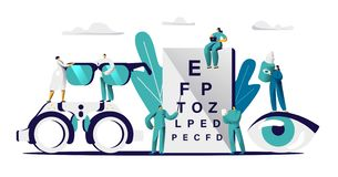 Ögonläkaredoktor Check Eyesight för glasögonDiopter Manlig ögonläkare med optiker för sikt för pekareundersökningöga royaltyfri illustrationer