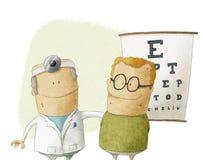Ögonläkaredoktor med patienten Vektor Illustrationer
