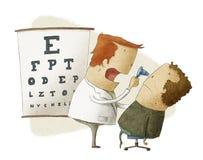 Ögonläkaren undersöker tålmodign Stock Illustrationer