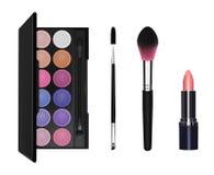 Ögonskugga, mascaraborste, makeupborste och läppstift royaltyfri illustrationer