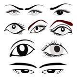 Ögonuppsättning vektor illustrationer