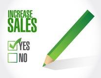 öka begreppet för tecknet för försäljningskontrolllistan stock illustrationer