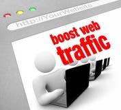 öka sköt trafikrengöringsduken för internet skärmen Arkivbilder