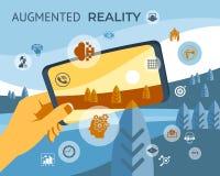 Ökade verklighetteknologisymboler royaltyfri fotografi