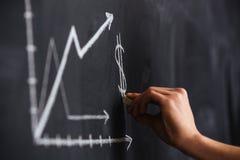 Ökande graf av valutahastigheten som dras av handen på svart tavla Arkivfoto
