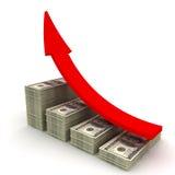 ökande värde för dollar stock illustrationer