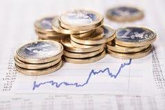 Ökande valutakurs royaltyfri fotografi