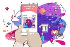 Ökat begrepp för app för verklighetamöbastil mobilt stock illustrationer