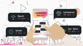 Ökat begrepp för app för verklighetstadsturism mobilt stock illustrationer