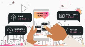 Ökat begrepp för app för verklighetstadsturism mobilt royaltyfri illustrationer