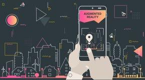 Ökat begrepp för app för verklighetstadsturism mobilt vektor illustrationer