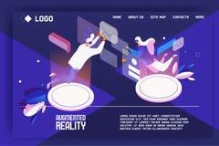 Ökat begrepp för verklighetlandningsida Mall för din rengöringsdukdesign med plant isometriskt folk som arbetar med meddelanden e stock illustrationer