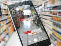 Ökat begrepp för verklighetmarknadsföringsapplikation Mobil smart p vektor illustrationer