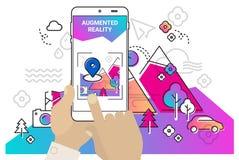 Ökat mobilt app-begrepp för verklighet vektor illustrationer