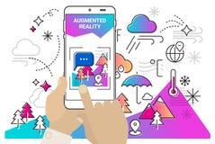Ökat mobilt app-begrepp för verklighet stock illustrationer