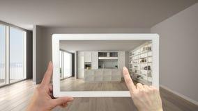 Ökat verklighetbegrepp Handinnehavminnestavlan med den van vid AR-applikationen simulerar möblemang- och designprodukter i tomt royaltyfri illustrationer