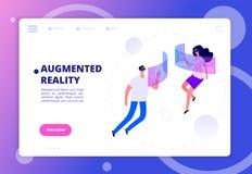 Ökat verklighetbegrepp Personer i vrhörlurar med mikrofon och skyddsglasögon Futuristiskt virtuell verklighetvektorbaner royaltyfri illustrationer