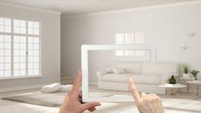 Ökat verklighetbegrepp Räcka den hållande minnestavlan med AR som den van vid applikationen simulerar möblemang och produkter för royaltyfri illustrationer