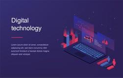 Ökat verklighetbegrepp Smart stadsteknologi Landa sidamallen Rengöringsdukbaner med bärbara datorn och valuta isometriskt stock illustrationer