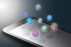 Ökat verklighetmarknadsföringsbegrepp Formar den smarta telefonen för svart färg med minimalistic design, ljusa färgsfärer Ar royaltyfri illustrationer