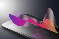 Ökat verklighetmarknadsföringsbegrepp Smart telefon för svart färg med abstrakt enkelt infographic Ar-applikationbakgrund vektor illustrationer