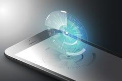 Ökat verklighetmarknadsföringsbegrepp Smart telefon för svart färg med den abstrakta beståndsdelen för techdesigndiagram Ar-appli royaltyfri illustrationer