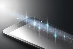 Ökat verklighetmarknadsföringsbegrepp Smart telefon för svart färg med energiflöde Ar-applikationbakgrund vektor 3d vektor illustrationer