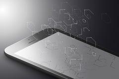 Ökat verklighetmarknadsföringsbegrepp Smart telefon för svart färg med sexhörningar, linjer och prickar Sexhörning Infographic Ar stock illustrationer
