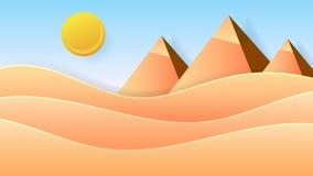 öken egypt Naturvektorillustration Utomhus- landskap för natur Tecken Kairo - Giza vektor illustrationer