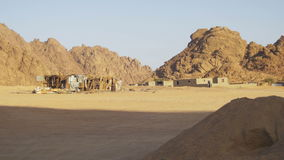 Öken i Egypten, sand, berg och beduinbosättningar stock video
