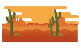 Öken med kaktuslandskap vektor illustrationer