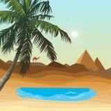 Öken med oasen stock illustrationer