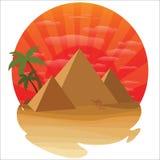 Öken med pyramiden stock illustrationer