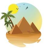 Öken med pyramiden royaltyfri illustrationer