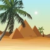 Öken med pyramiden vektor illustrationer