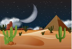 Öken med pyramider på natten vektor illustrationer