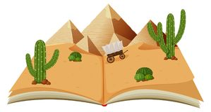 Öken med pyraminds i en bok stock illustrationer