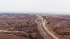 Öken med väg 40 mellan Oklahoma och Texas lager videofilmer