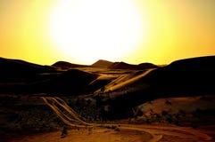 Öken mellan Dubai och Abu Dhabi Royaltyfri Fotografi