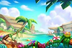 Öken, oas och berg, flod med fantastisk realistisk stil royaltyfri illustrationer