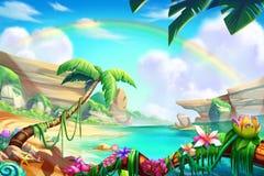 Öken, oas och berg, flod med fantastisk realistisk stil stock illustrationer