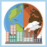 Öken och bransch för jordklot halv med rök vektor illustrationer