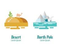 Öken- och nordpolenlandskap Plana designbeståndsdelar Vektor il royaltyfri illustrationer